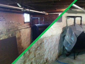dirty insulation in a basement and the same basement with new insulation