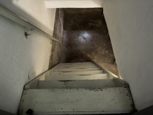 view down the stairs into an older unfinished basement