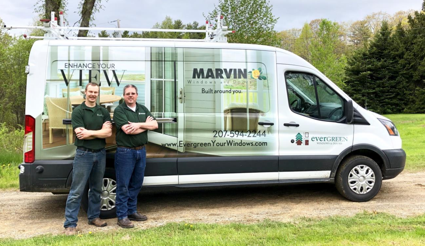 Evergreen Home Performance window installation van in Rockland, Maine