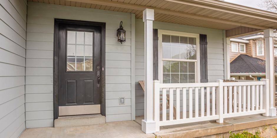 front landing front door of house